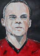 Wayne Rooney Posters - Wayne Rooney Poster by John Halliday