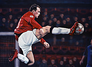 League Painting Framed Prints - Wayne Rooney Framed Print by Paul  Meijering