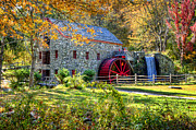 Wayside Inn Grist Mill Framed Prints - Wayside Inn Grist Mill Framed Print by Donna Doherty