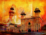 University Buildings Drawings Prints - Wazir Khan Mosque Print by Catf