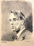Author Drawings Metal Prints - W.B. Yeats Metal Print by John  Nolan
