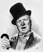 Celebrity Portraits Drawings Posters - WC Fields My little chickadee Poster by Andrew Read