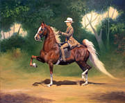 American Saddlebred Posters - WC. Jewels For A Lady and Tanner Poster by Jeanne Newton Schoborg