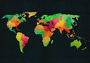 Old Earth Map Prints - We are colorful Print by Budi Satria Kwan
