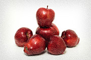 Apples Mixed Media - We Are Family - 6 Red Apples - Fresh Fruit - An Apple A Day - Orchard by Andee Photography