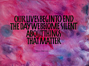 Calligraphy Posters - We Become Silent Poster by Elissa Barr