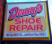 Shoe Repair Posters - We Can Heel Ya and Save Your Sole Poster by Terri Gostola