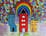 Ella Paintings - We Choose to Serve - Original Whimsical Folk Art Painting by Ella Kaye