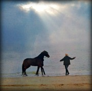 Sun Breaking Through Clouds Art - We go together like a horse and carriage by Lisa Van der Plas