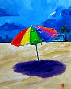 Beach Umbrella Posters - We left the umbrella under the storm Poster by Patricia Awapara