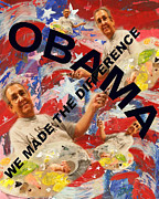 Obama Pastels Posters - We Made The Difference Poster by Joseph Mora