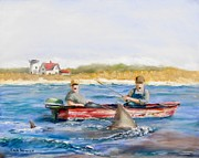 New England Pastels Prints - We Need A Biggah Boat Print by Jack Skinner