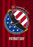 We Remember 911 Patriot Day Retro Poster Print by Aloysius Patrimonio