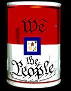 Red White And Blue Mixed Media Prints - We The People Pop Art Print Print by AdSpice Studios