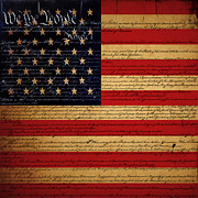 4th Of July Digital Art Posters - We The People - The US Constitution with Flag - square v2 Poster by Wingsdomain Art and Photography