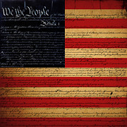 4th Digital Art - We The People - The US Constitution with Flag - square by Wingsdomain Art and Photography