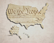 Unity Digital Art Posters - We The People - US Constitution Map Poster by World Art Prints And Designs