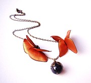 Insects Jewelry - Wearable Art . Never Ending Love . one of a kind necklace by Marianna Mills