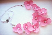 Spring Flower Jewelry Prints - Wearable art . one of a kind statement necklace Print by Marianna Mills