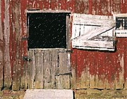 Barn Door Pastels Framed Prints - Weathered Barn Door Framed Print by Olde Time  Mercantile