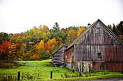 Red Barn. New England Prints - Weathered Barn Print by Shirley Helton