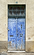 French Door Framed Prints - Weathered Blue Number 10 Door Framed Print by Georgia Fowler