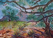 Red Tail Hawk Paintings - Weathered Branches and Yuccas in Red Rock Country by Ellen Levinson