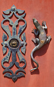 Salamanders Photos - Weathered Brass Door Handle of Medieval Europe by David Letts
