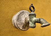 Old World Europe Posters - Weathered Brass Water Spigot Poster by David Letts