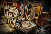 Flea Market Photos - Weathered Chairs by Paul Ward