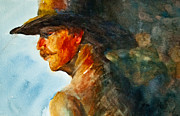 Brown Toned Art Painting Prints - Weathered Cowboy Print by Jani Freimann