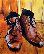 Him Paintings - Weathered Leather by Alacoque Doyle