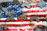 Glory Mixed Media Prints - Weathered Metal American Flag Print by Anahi DeCanio