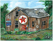 Old Barn Paintings - Weathered Old Barn by Sandie Keyser