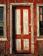 Old Door Digital Art Prints - Weathered Red and White Door Print by Peter Veljkovich
