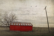 Wire Tree Posters - Weathered red barn Poster by Elena Nosyreva