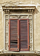 Weathered Shutters Framed Prints - Weathered Red Wood Window Shutters of Tuscany Framed Print by David Letts
