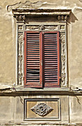 Weathered Shutters Framed Prints - Weathered Red Wood Window Shutters of Tuscany II Framed Print by David Letts