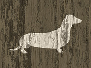 Dachshunds Doxie Digital Art - Weathered Wood Dachshund by Vintage Poster Designs