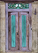 Cow Bell Posters - Weathered Wood Door of the Caribbean  Poster by David Letts