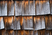 Wood Shingles Posters - Weathered wooden shingles of a barn closeup Poster by Matthias Hauser