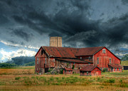 Red Barn Posters - Weathering the Storm Poster by Lori Deiter