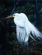 Egret Paintings - Weathervane by Tim Davis