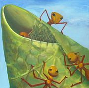 Close Up Painting Metal Prints - Weaver Ants Metal Print by Laura Dozor