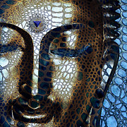 Buddhism Metal Prints - Web of Dharma - Modern Blue Buddha Art Metal Print by Christopher Beikmann