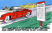 Road Trip Drawings Framed Prints - Wed have seen a lot more if old You-know who hadnt been trying to set a record Framed Print by Eldon Frye