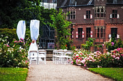 Garden Scene Framed Prints - Wedding Arrangement in De Haar Castle. Utrecht  Framed Print by Jenny Rainbow