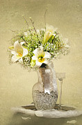 Glass Table Prints - Wedding Bouquet Print by Lena Auxier