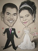 Happy Couple Framed Prints - Wedding Caricature Framed Print by Anastasis  Anastasi