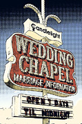 Americana Art Framed Prints - Wedding Chapel Pop Framed Print by Anthony Ross